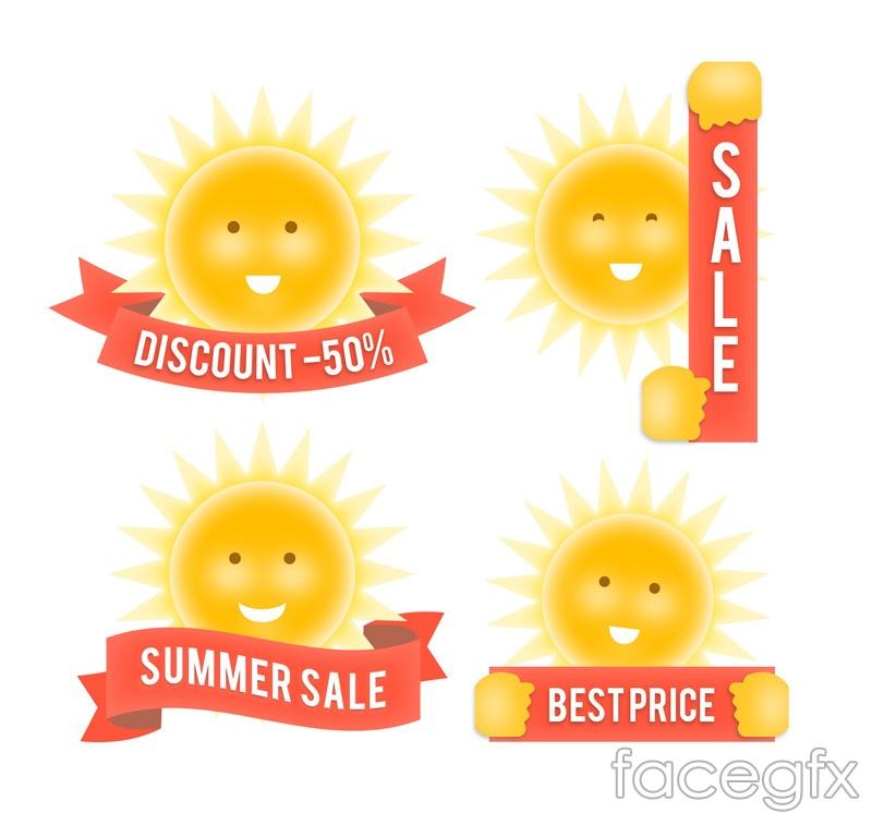 4 summer sale tag vector
