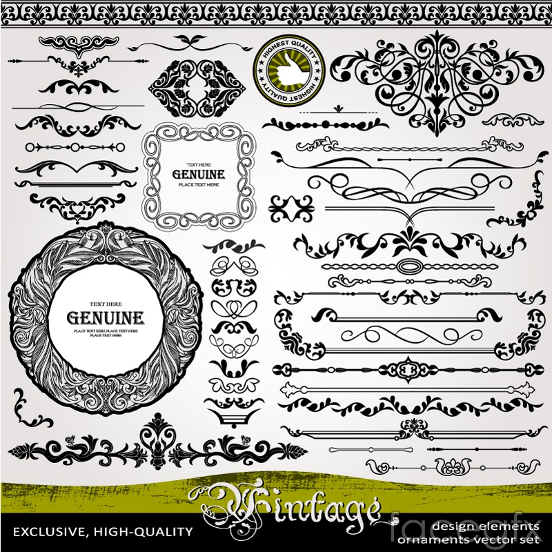 53 retro black with lace pattern vector