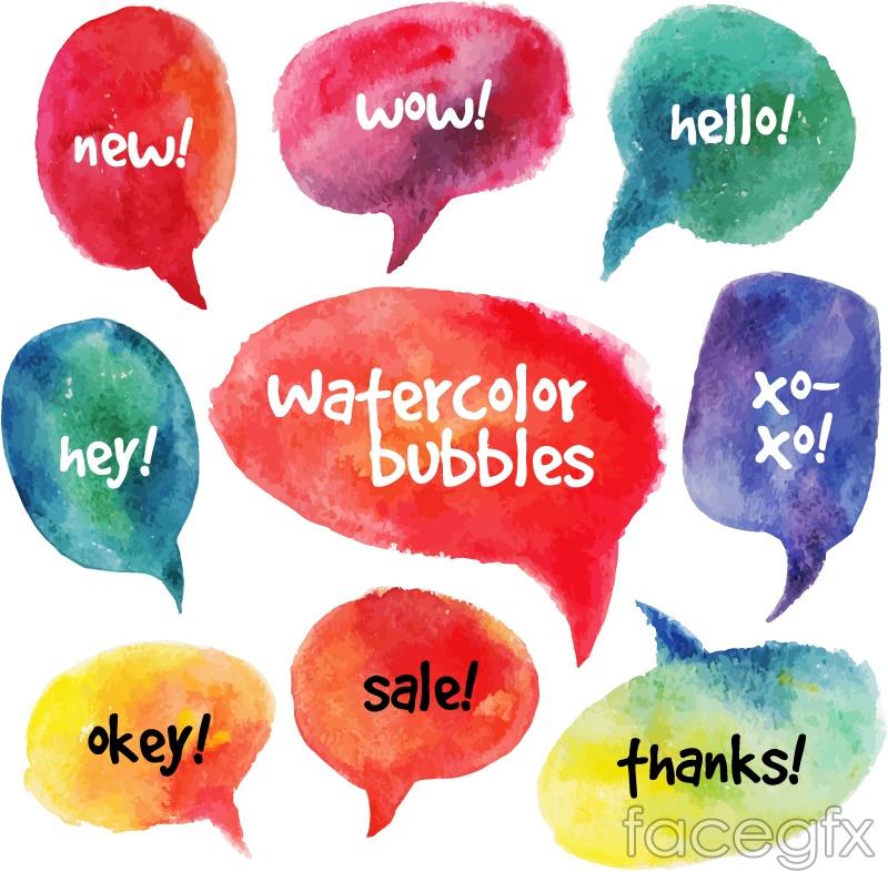 Bubble color watercolor language vector