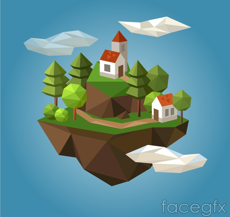 Creative stereo Mountain House vector
