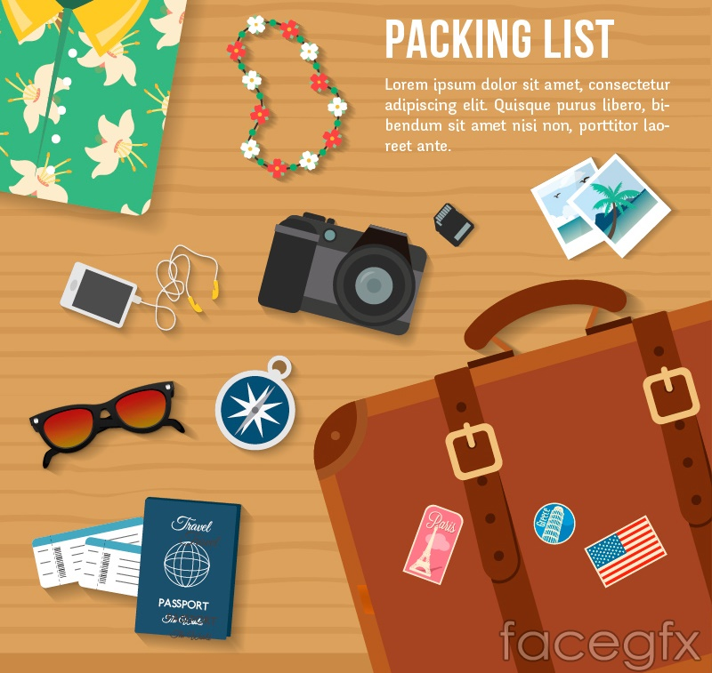 Creative suitcases and travel goods vector map