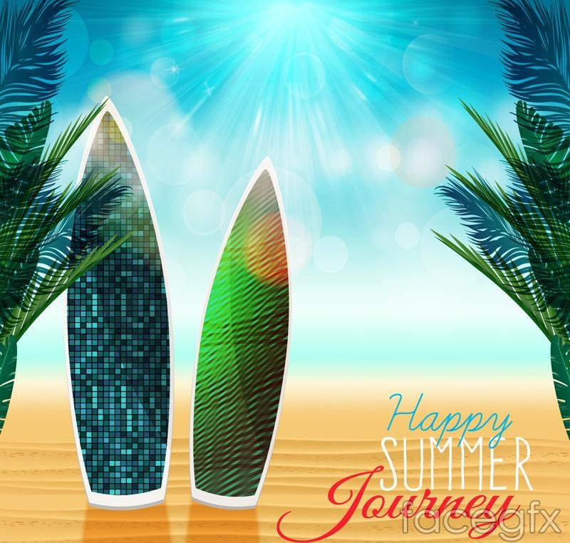Fashion Beach surfboard vector