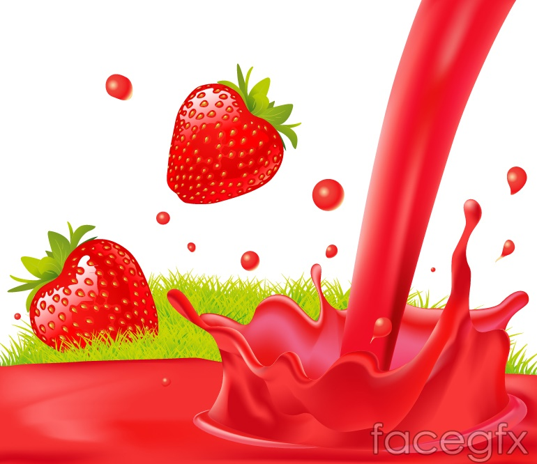 Fresh strawberries and strawberry juice vector