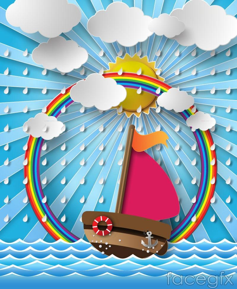 Sailing and Rainbow clip art vector