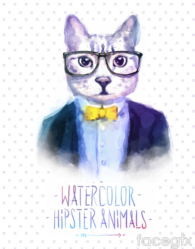 Stylish water painted Cat Head vector