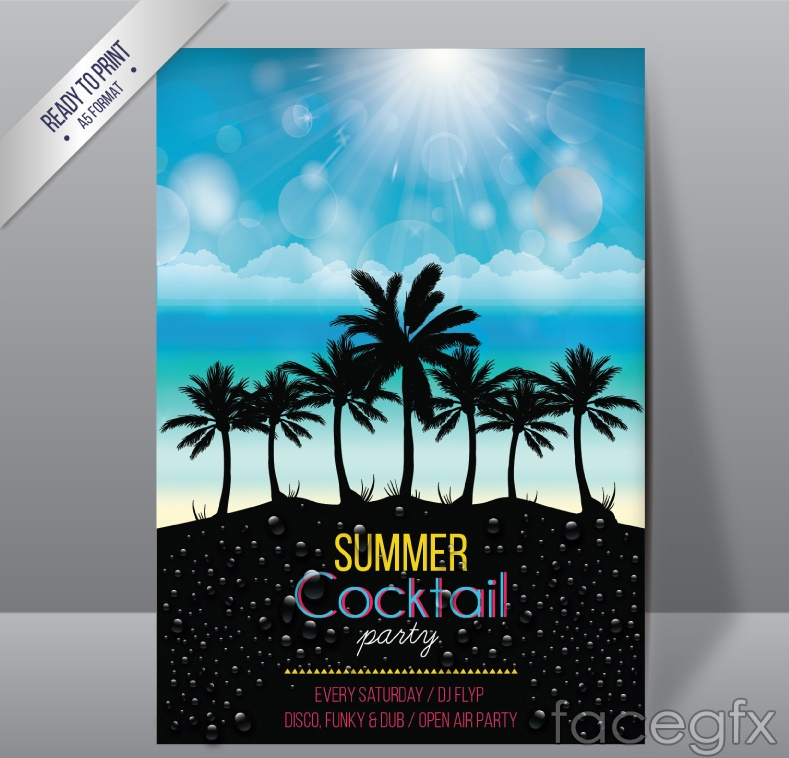Summer party flyer vector graphics