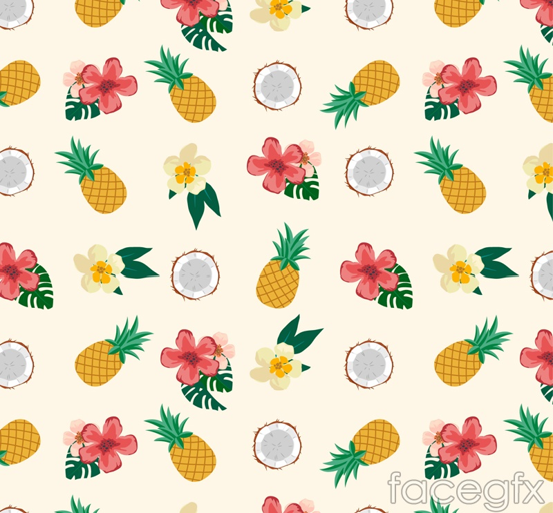 Tropical fruits and flowers vector