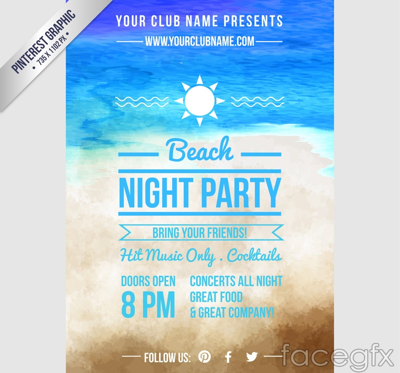 Water painting beach party poster vector graphics