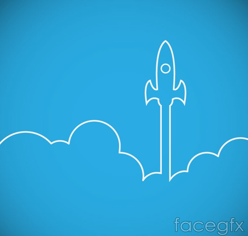 White flight rocket cartoon vector