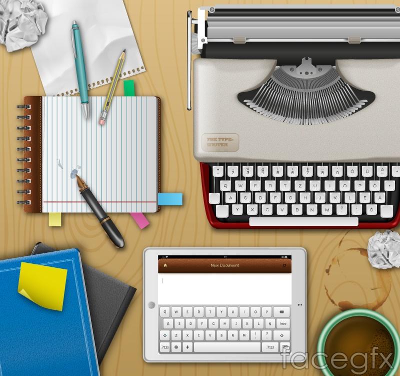 Writer desktop design vector