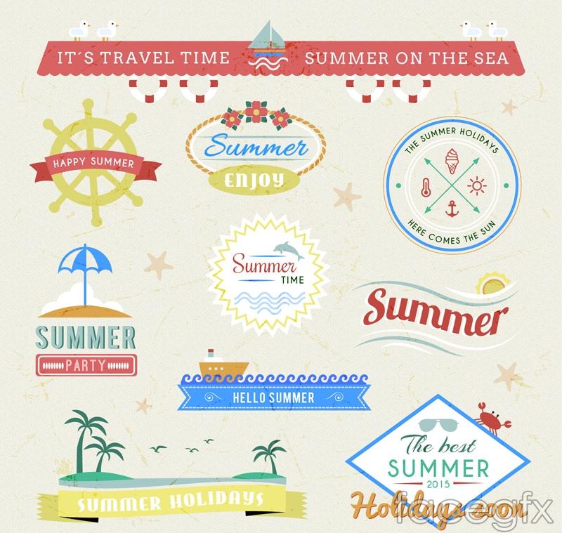 10 summer holidays label vector diagrams