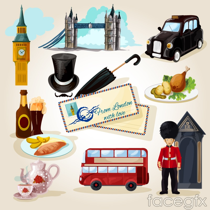 12 water paint United Kingdom travel element vector