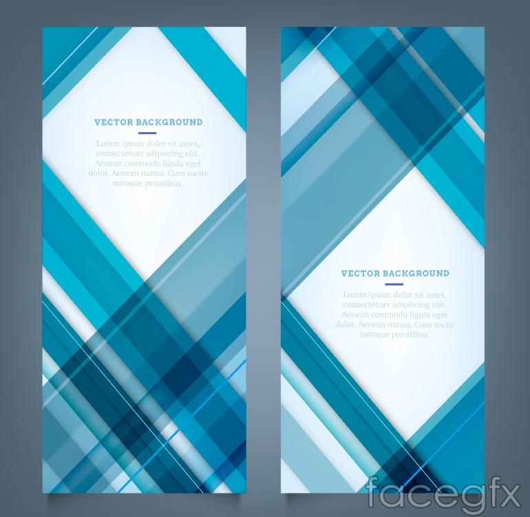 2 blue Plaid banner vector