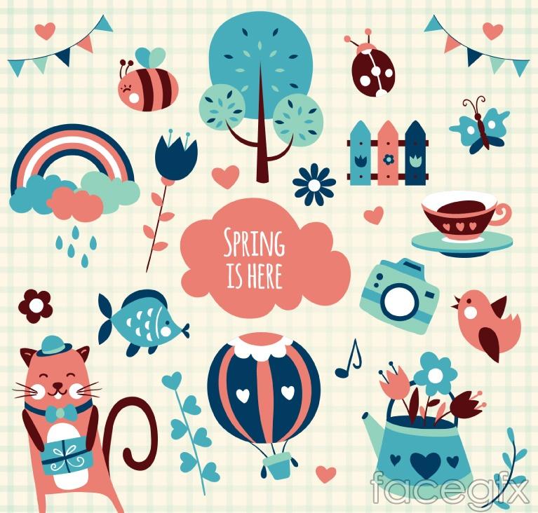 21 cartoon spring element vector