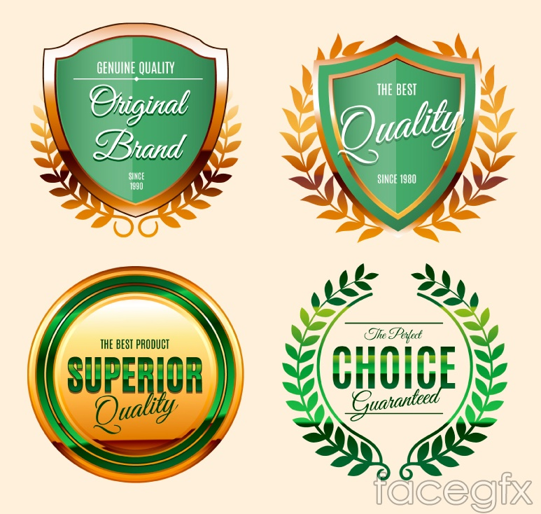 4 beautiful green quality label vector diagrams