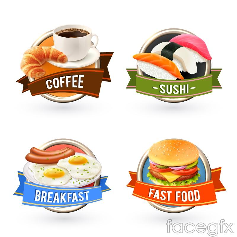 4 delicious food labels vector
