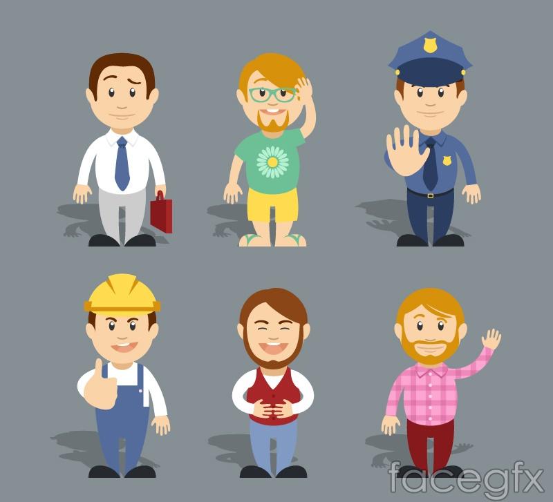6 cartoon occupational character vector