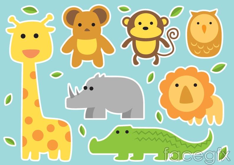 7 cartoon animal stickers vector