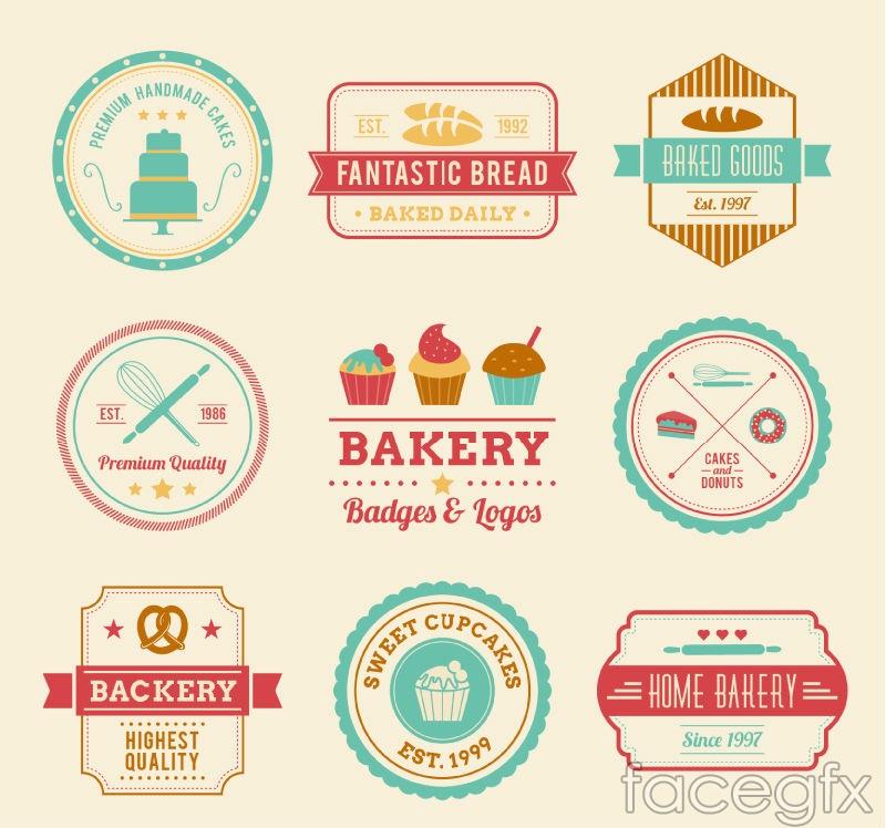 9 color bakery label vector diagrams