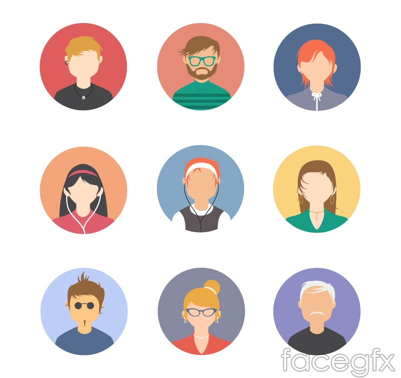 9 round character avatar design vector graph