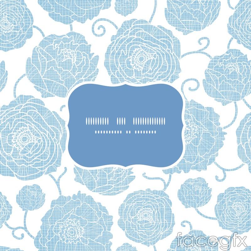 Blue flower label background vector