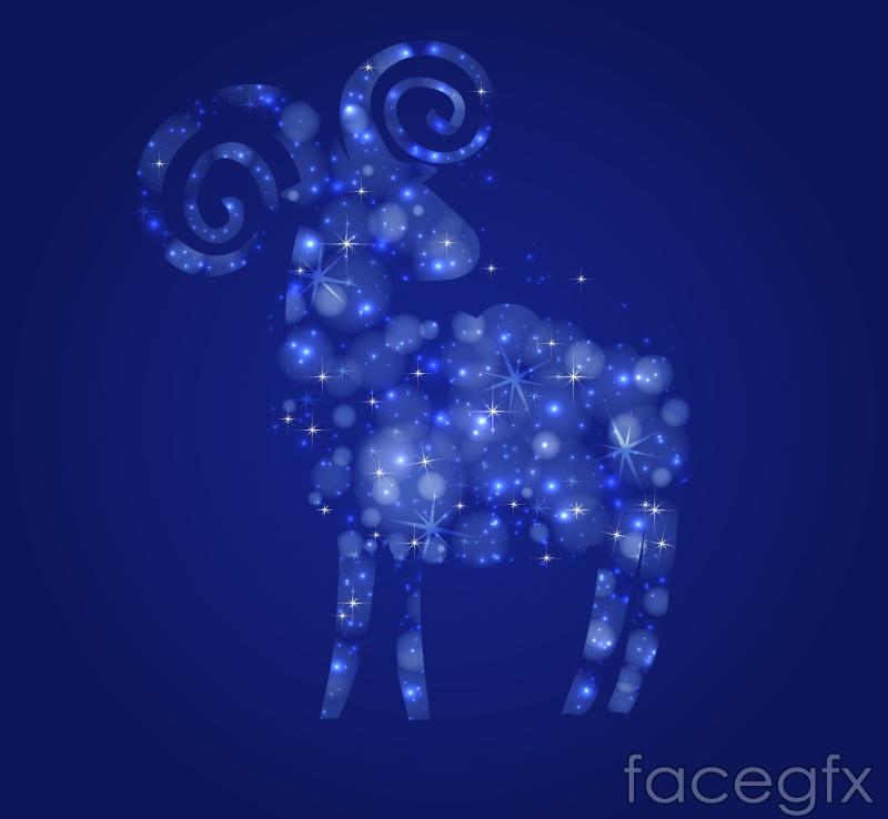 Fantasy blue glow sheep design vector