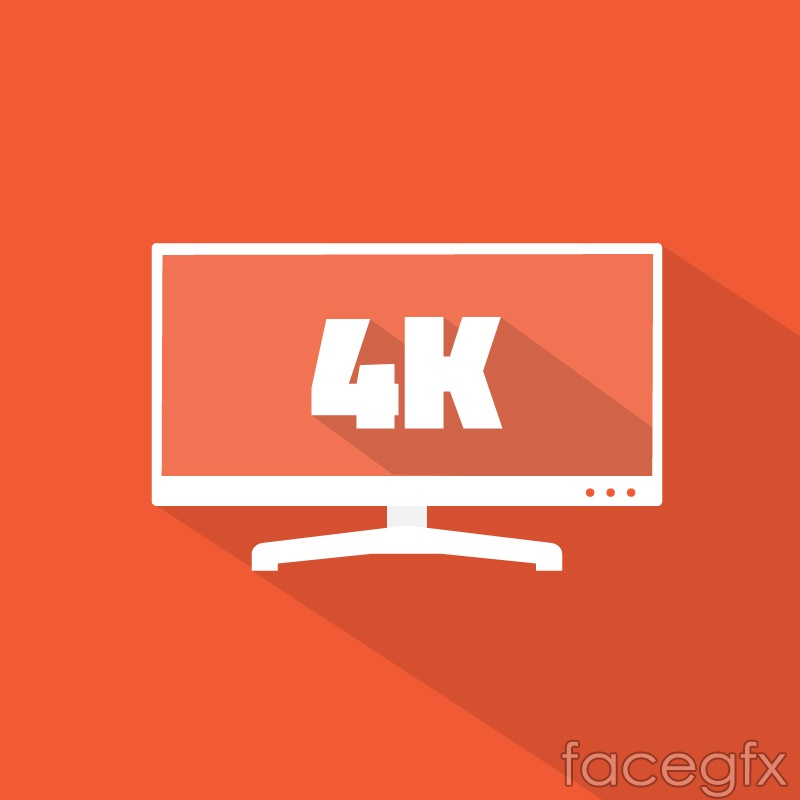 Flat 4K TV design vector