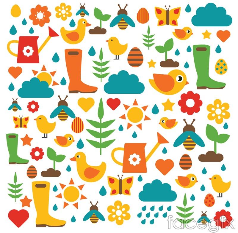 Fresh cartoon gardening seamless vector background illustration