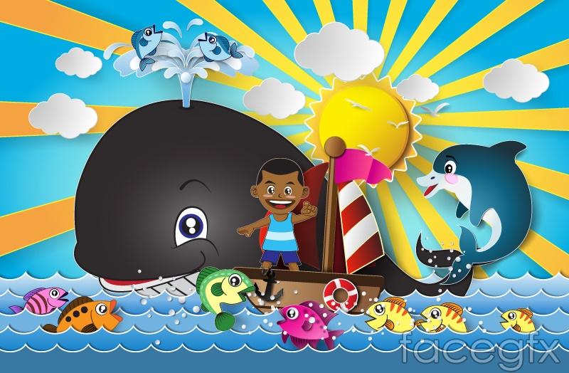 Navigational child and fish cartoon vector
