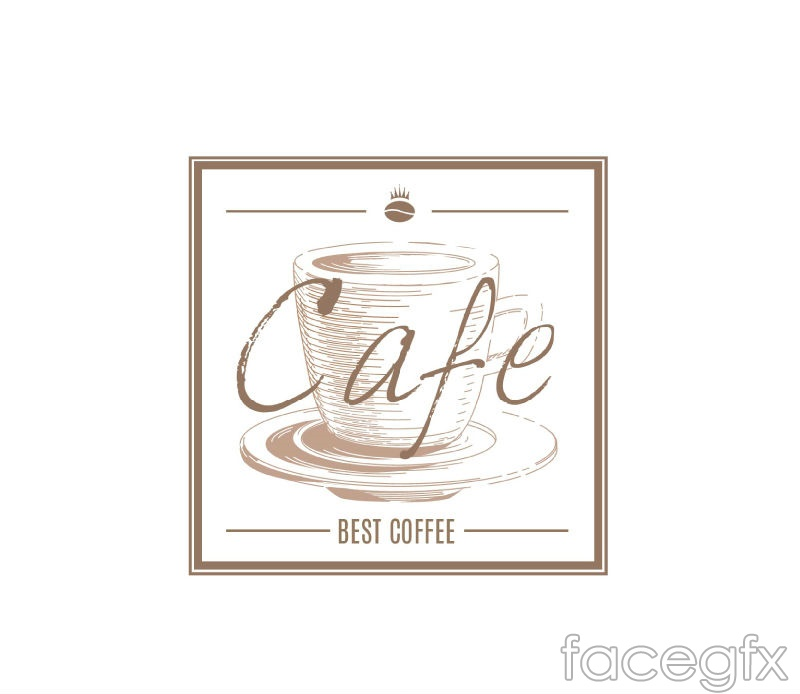 Retro square hand-painted coffee label vector