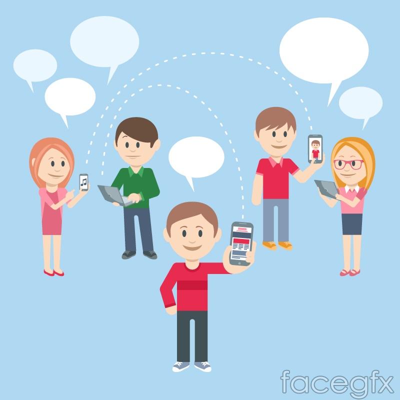 Social life, characters and language bubble vector