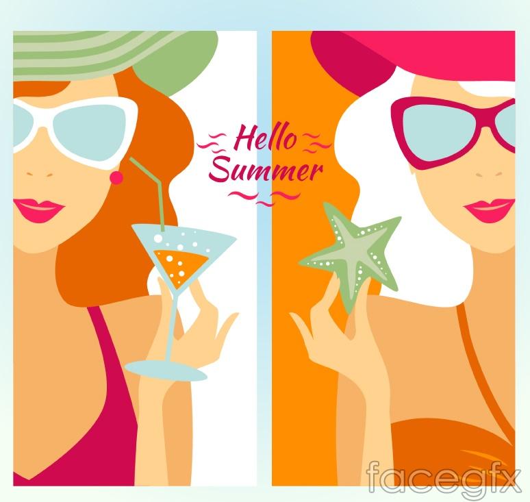 Summer beach holiday-girl banner vector
