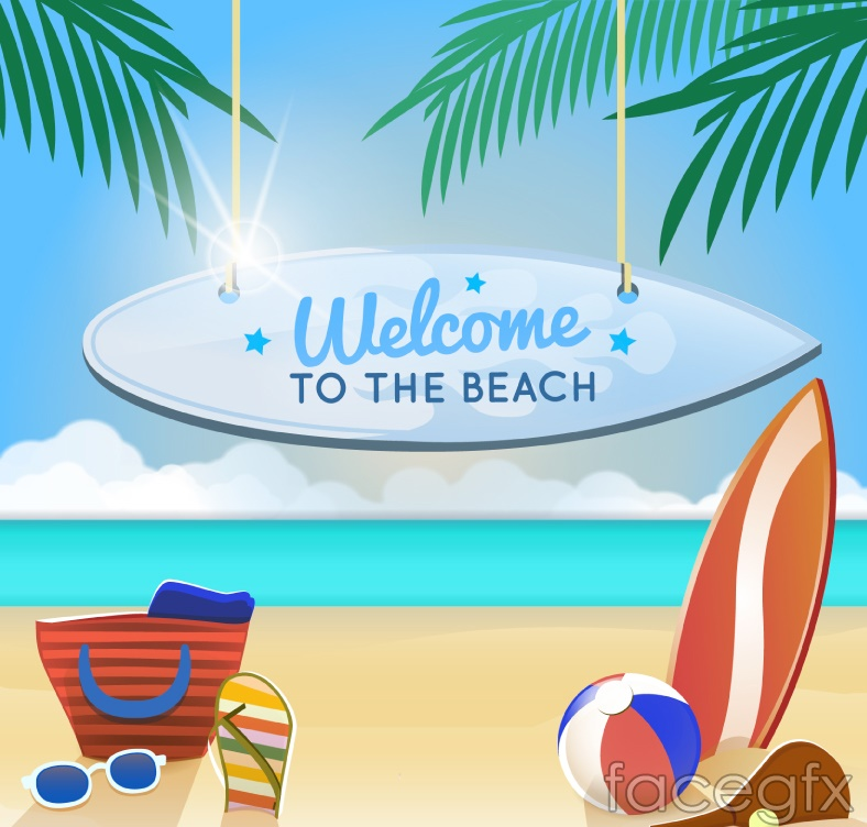 Summer beach vacation poster vector graphics
