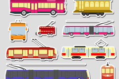 9 railway and trolley-bus stickers vector