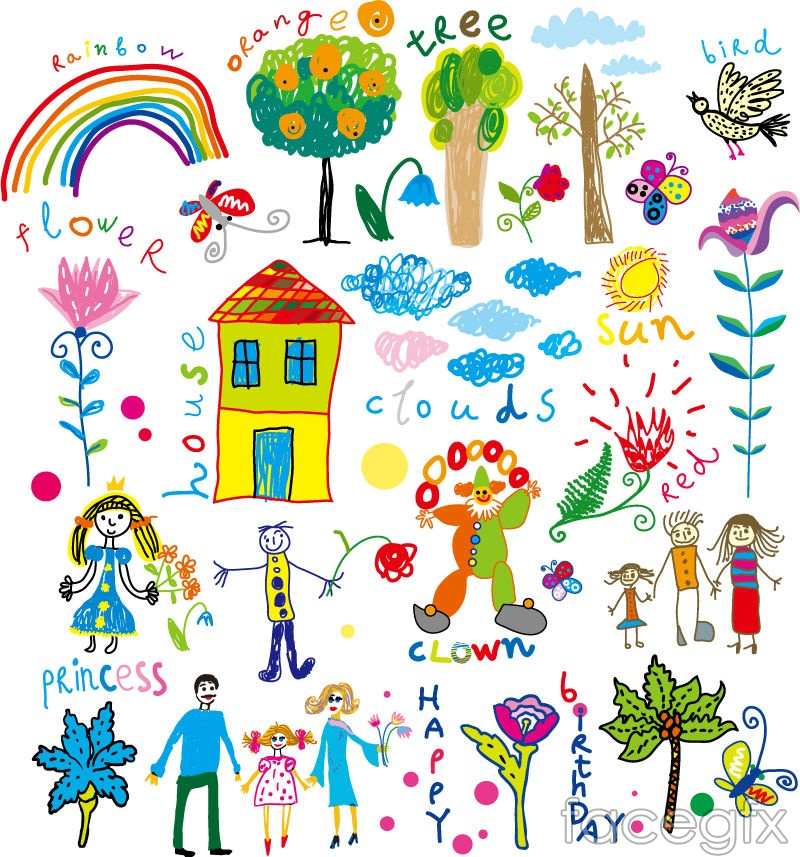 24 hand-painted children's drawing element vector