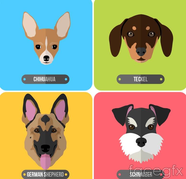 4 cartoon dog head vector