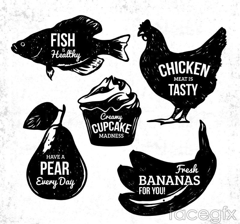 5 food sketch label vector diagrams