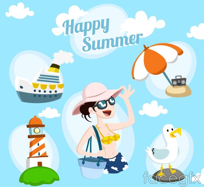 5 fresh summer vacation element vector