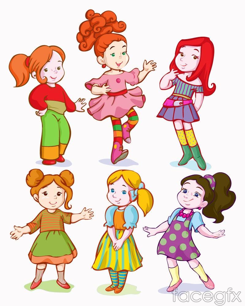 6 cartoon girl design vector