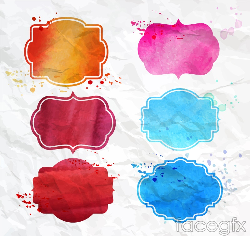 6 water painting blank label vector