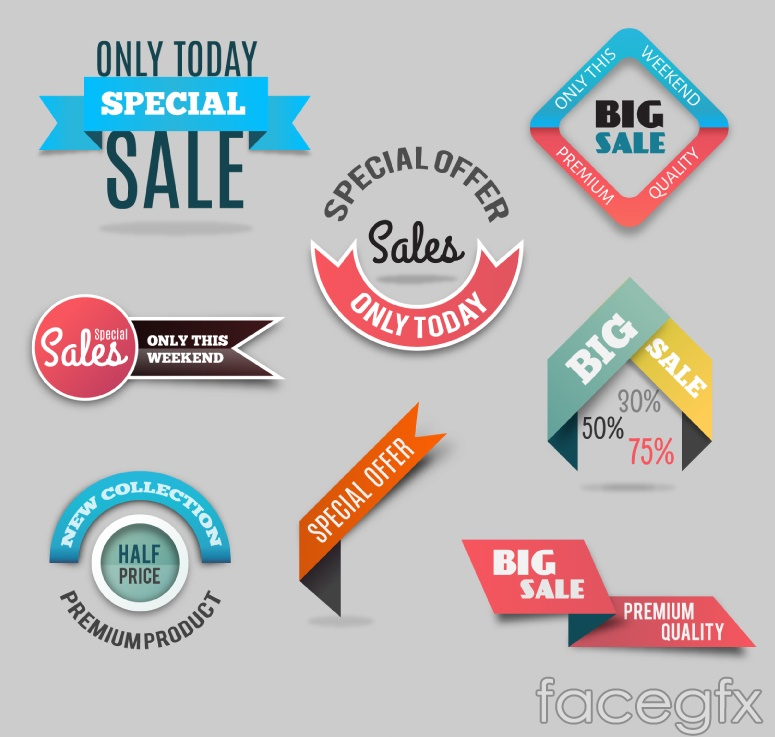 8 color promotional tag vector