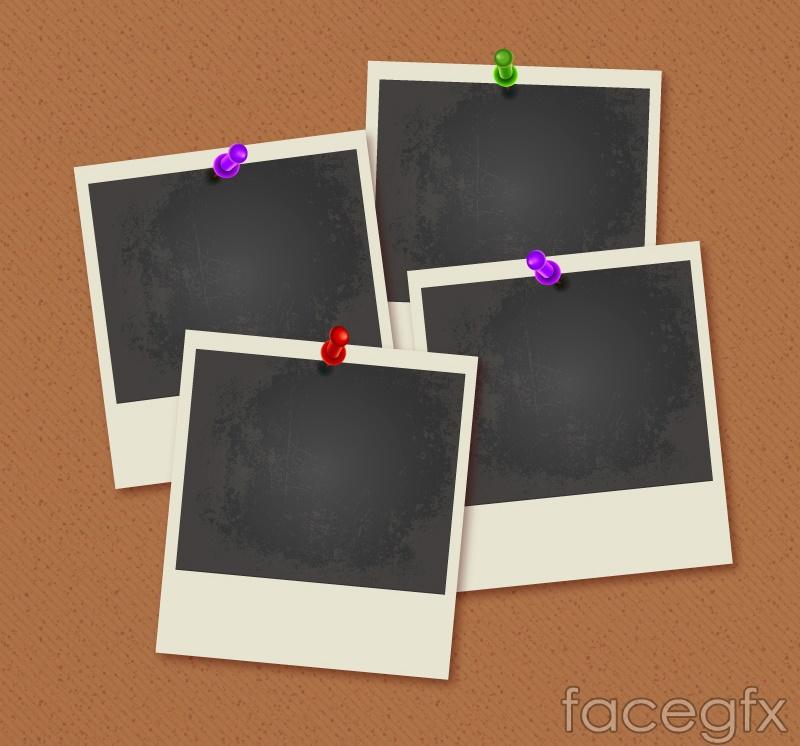 Blank Polaroid photo wall vector