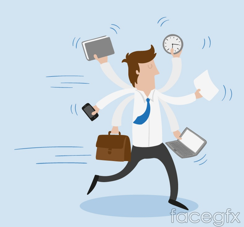 Busy business man vector graphics