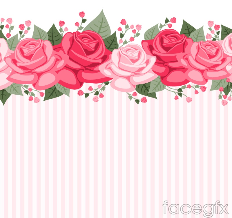 Color rose striped background vector map
