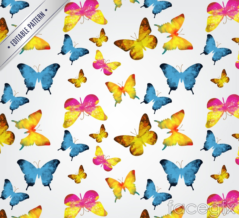 Colorful watercolor Butterfly seamless vector background illustration
