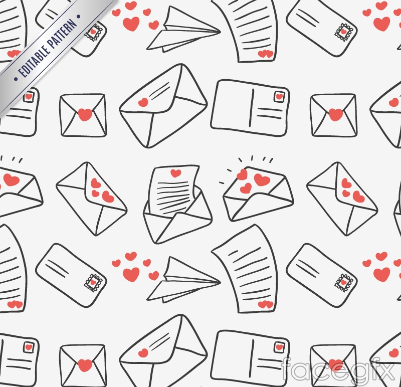 Creative love letter seamless vector background