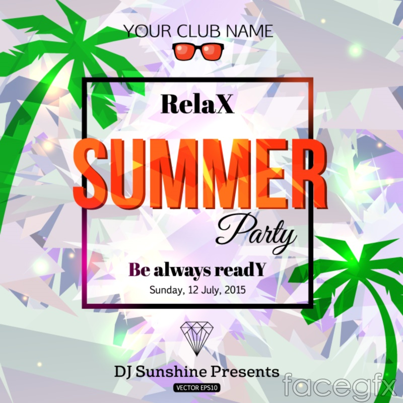 Fashion summer party poster vector graphics