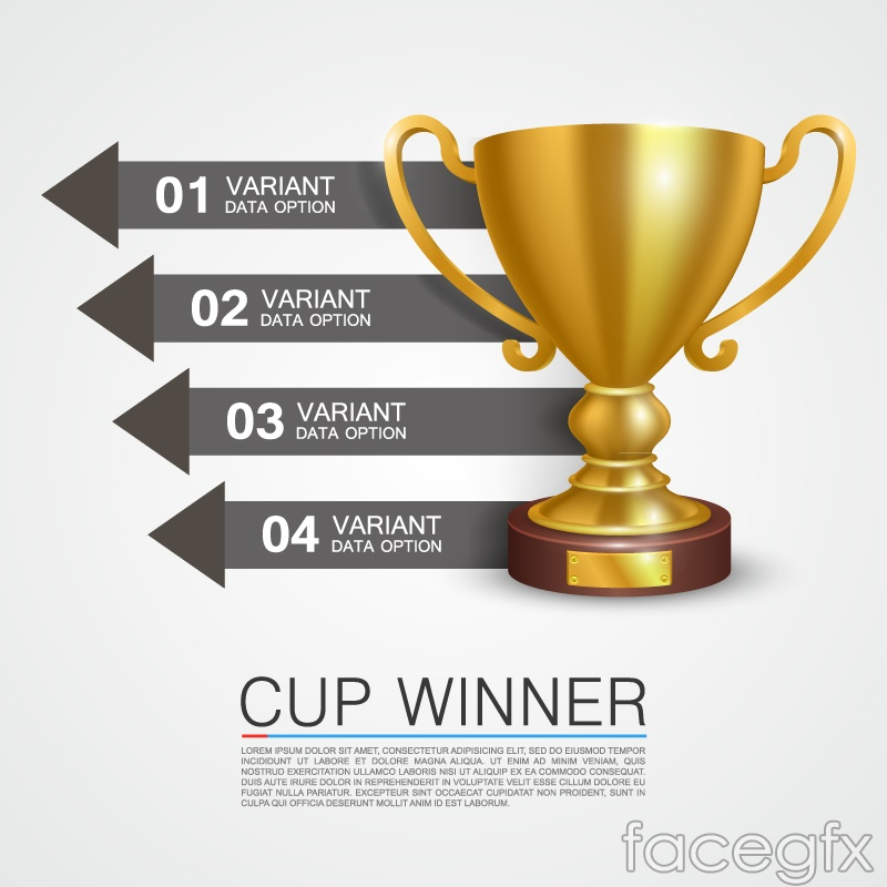 Golden Trophy business information vector charts