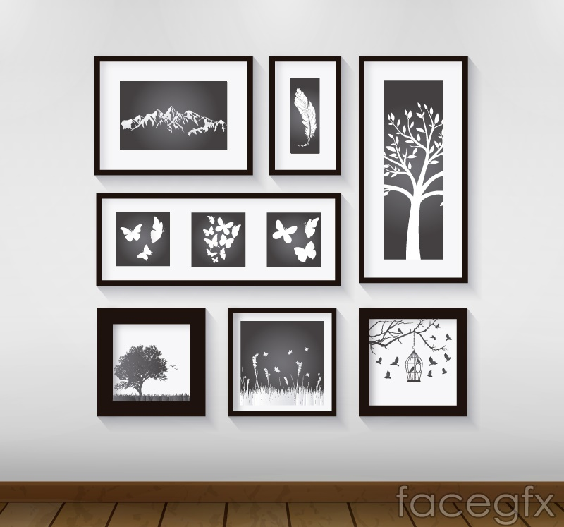 Simple plant photo wall vector