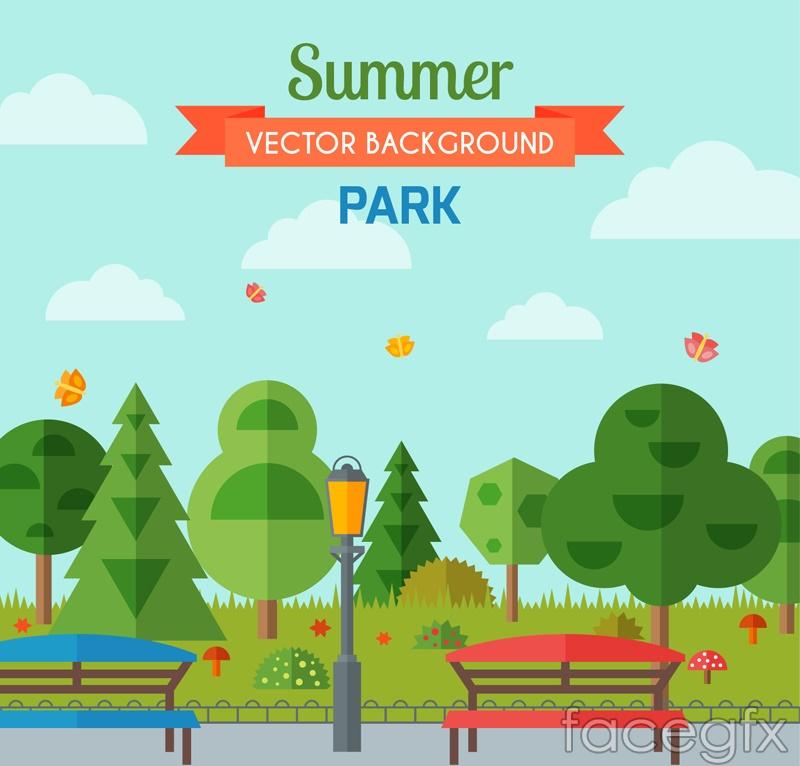 Summer landscape a park bench vector